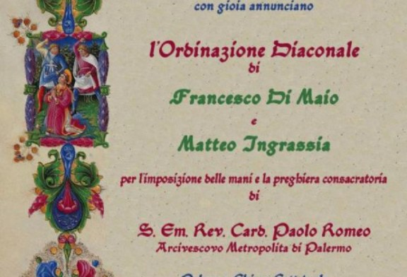 Matteo Ingrassia sarà ordinato diacono
