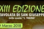 Il 19 Marzo la XIII Tavolata di San Giuseppe alla scuola S.Traina