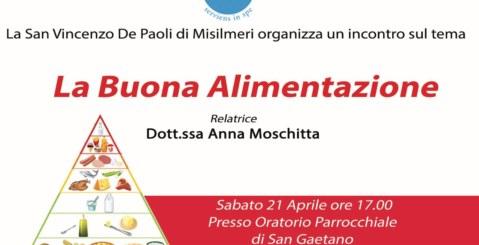 """""""La Buona Alimentazione"""" l'incontro organizzato dalla S. Vincenzo"""