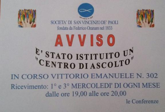 San Vincenzo de Paoli istituisce Centro di ascolto