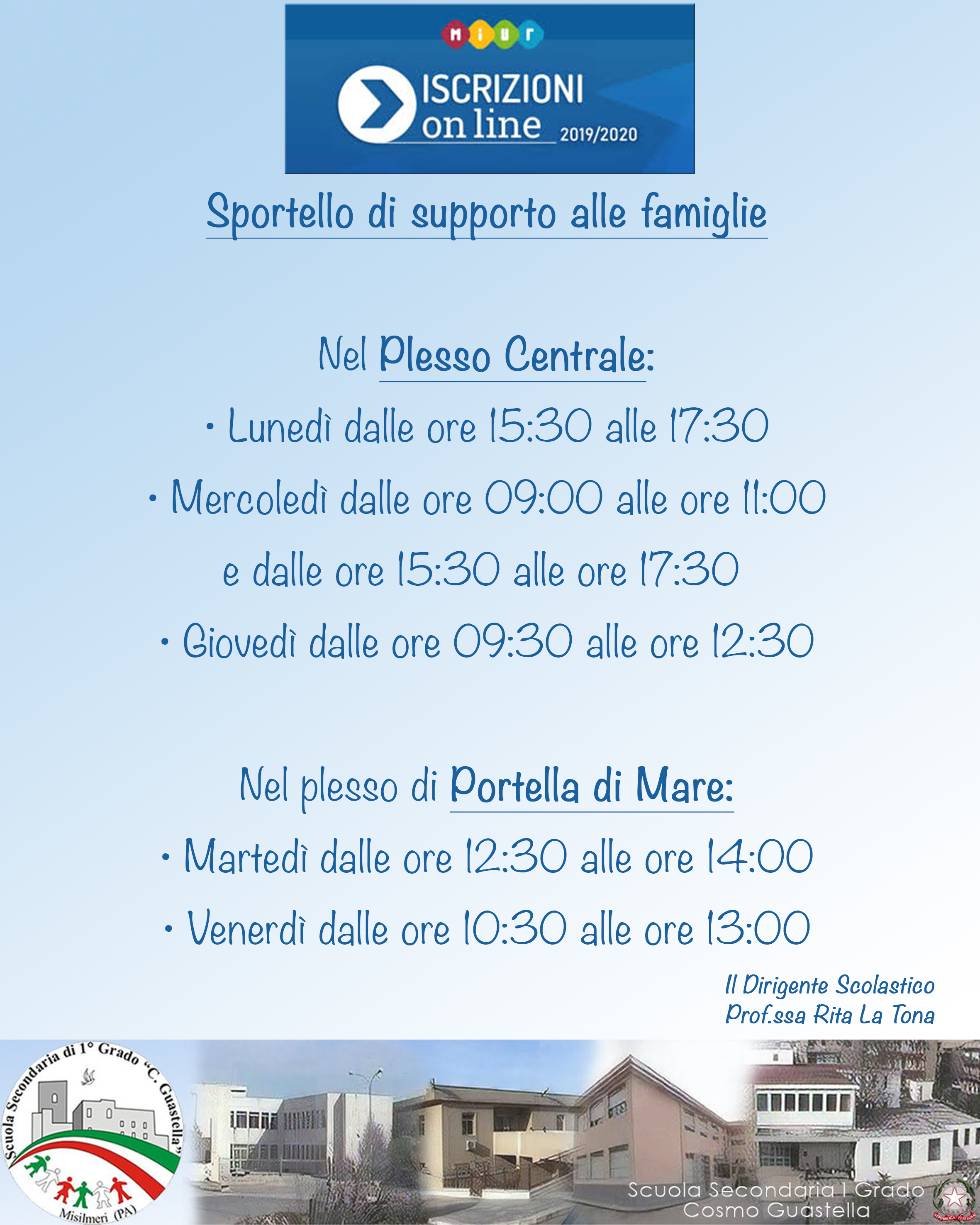 Scuola C. Guastella attivato lo sportello di supporto alle famiglie per le iscrizioni on line a.s.2019/2020