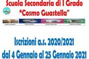 """Scuola Secondaria I grado """"Cosmo Guastella"""": al via le iscrizioni on line a.s. 2021/2022"""